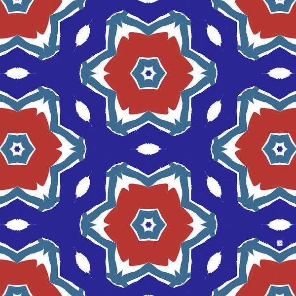 Wall Art - Digital Art - Red White And Blue Star Flowers 2 - Pattern Art By Linda Woods by Linda Woods