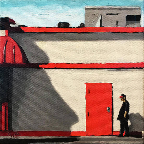 Wall Art - Painting - Red White And Blue - Taking A Break City Street Urban Fine Art Painting by Linda Apple