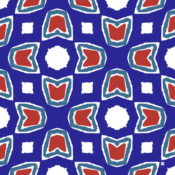 Wall Art - Digital Art - Red White And Blue Tulips Pattern- Art By Linda Woods by Linda Woods