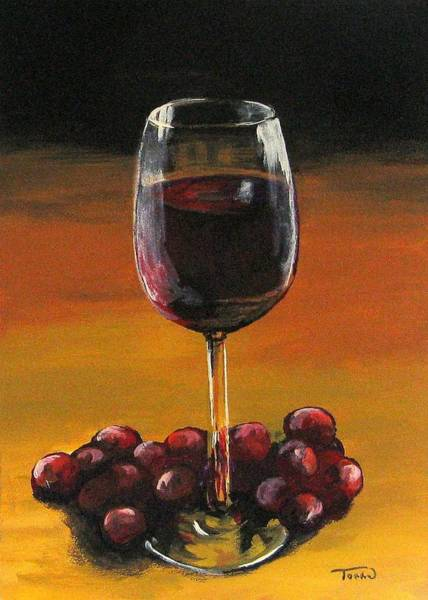 Wall Art - Painting - Red Wine And Red Grapes by Torrie Smiley