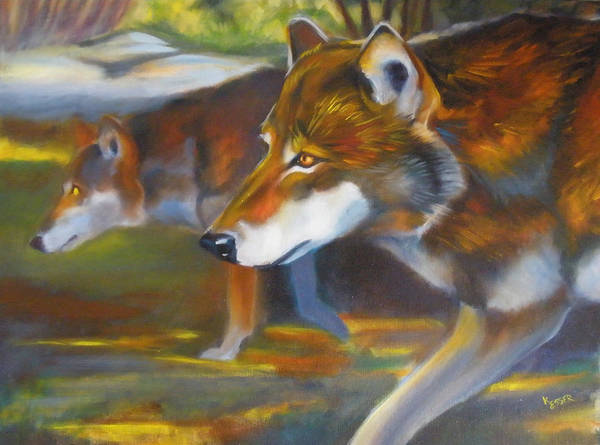 Wall Art - Painting - Red Wolves by Kaytee Esser