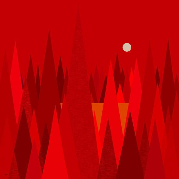 Digital Art - Red Woods by Val Arie