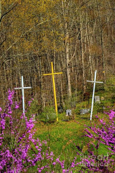 Wall Art - Photograph - Redbud Bloom And Three Crosses  by Thomas R Fletcher