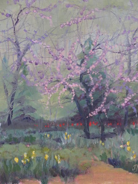 Painting - Redbuds And Tulips by Judy Fischer Walton
