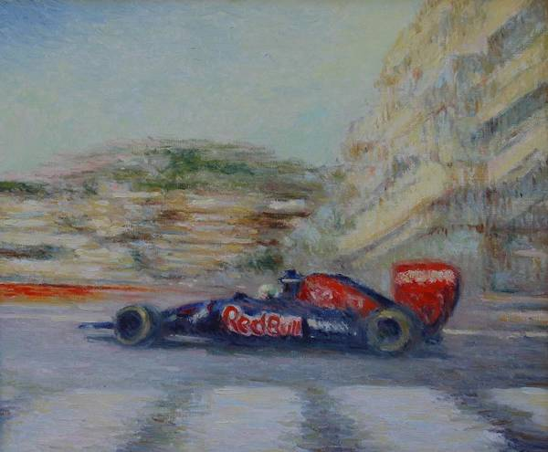 Painting - Redbull Racing Car Monaco  by Pierre Van Dijk