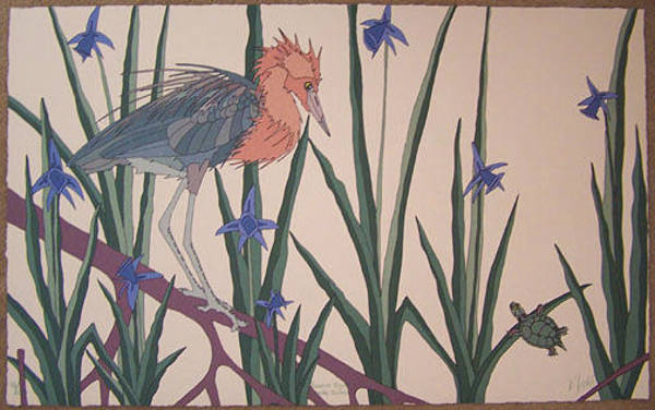 Wall Art - Painting - Reddish Egret With Turtle by Dan Goad