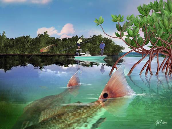 Mangroves Digital Art - Redfish Tailing by Mark Erickson