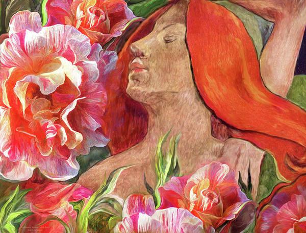 Mixed Media - Redheaded Woman With Roses by Carol Cavalaris