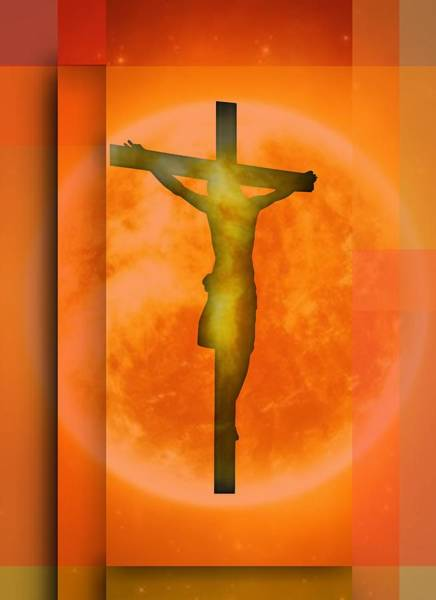 Digital Art - Redish Environmet Crucifixion, by Alberto RuiZ