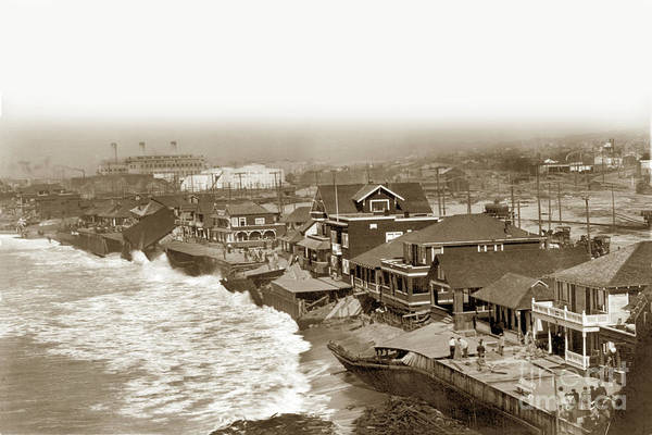 Photograph - Redondo Beach Damaged By Winter Storm. January 31, 1915 by California Views Archives Mr Pat Hathaway Archives