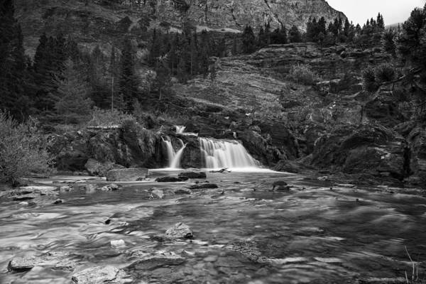 Photograph - Redrock Falls Bw- Glacier National Park by Belinda Greb