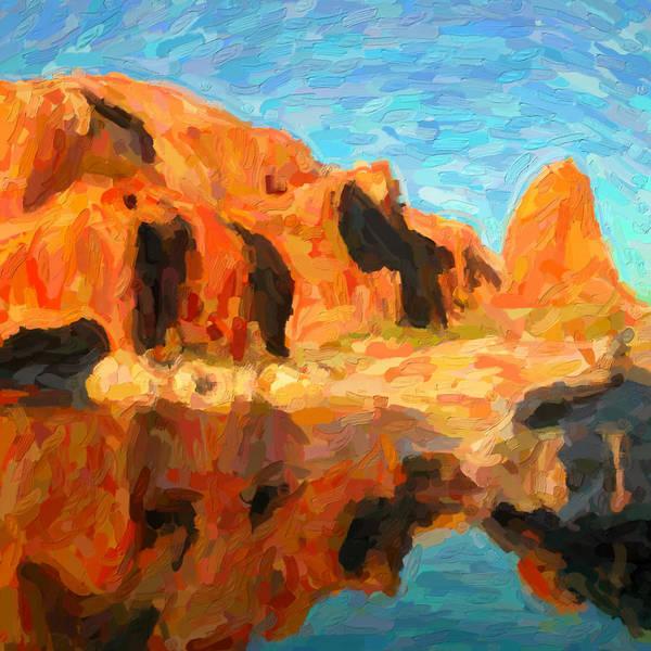 Digital Art - Redrock Reflections by David Hansen