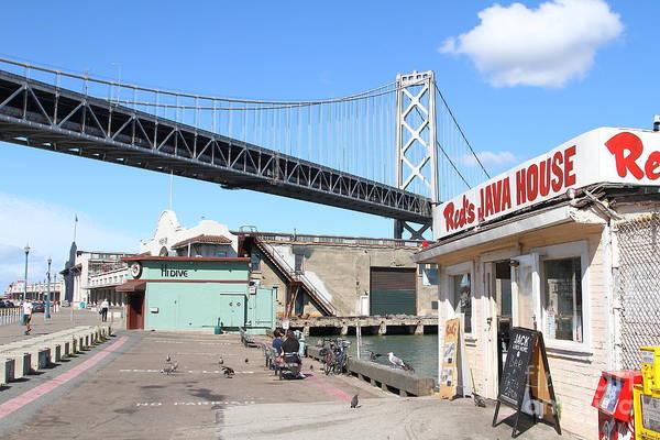 Photograph - Reds Java House And The Bay Bridge At San Francisco Embarcadero . 7d7712 by Wingsdomain Art and Photography