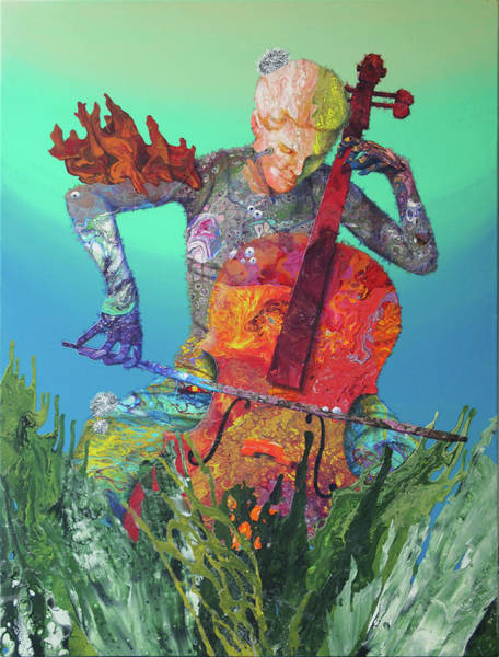 Cellist Painting - Reef Music - Cellist by Marguerite Chadwick-Juner