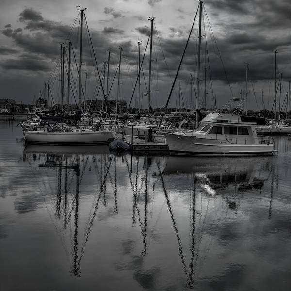Photograph - Reefpoint Marina Black And White Square Format by Dale Kauzlaric