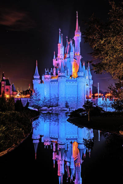 Photograph - Refections Of Cinderella's Castle At Disney World by Jim Vallee