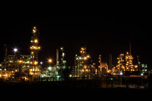 Photograph - Refinery At Night 2 by Stephen Holst