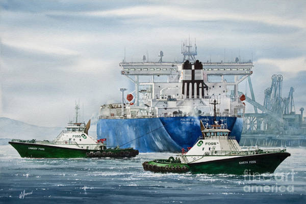 Tug Wall Art - Painting - Refinery Tanker Escort by James Williamson