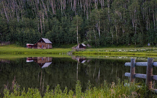Photograph - Reflected Cabin And Trees Near Durango Colorado by Dave Dilli