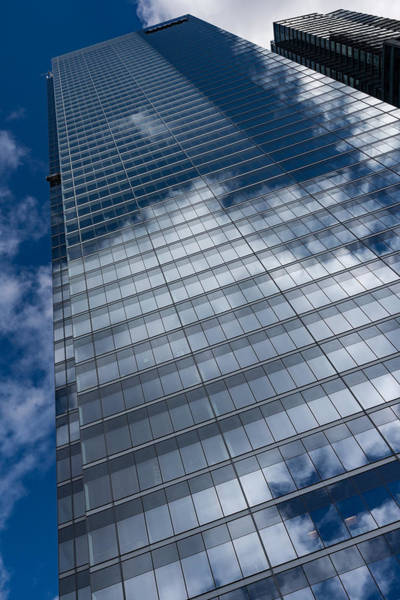 Photograph - Reflected Sky - Skyscraper Geometry With Clouds - Left by Georgia Mizuleva