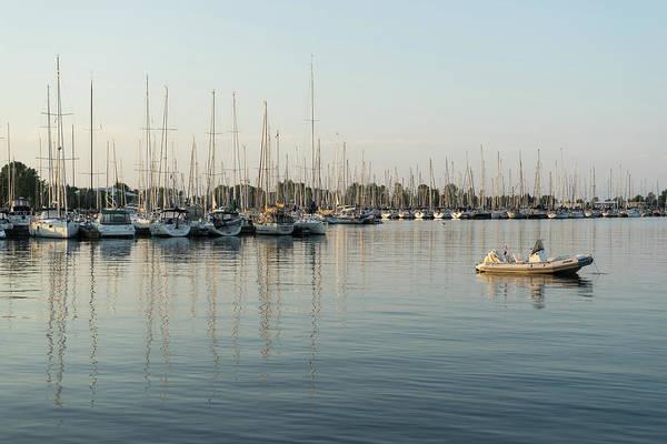 Photograph - Reflecting On Yachting - Pastel Morning At The Marina by Georgia Mizuleva
