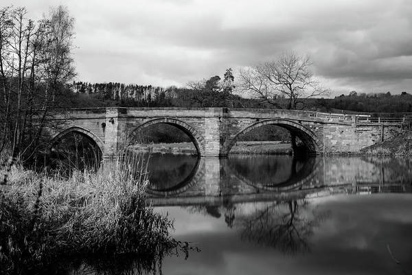 Photograph - Reflecting Oval Stone Bridge In Blanc And White by Dennis Dame
