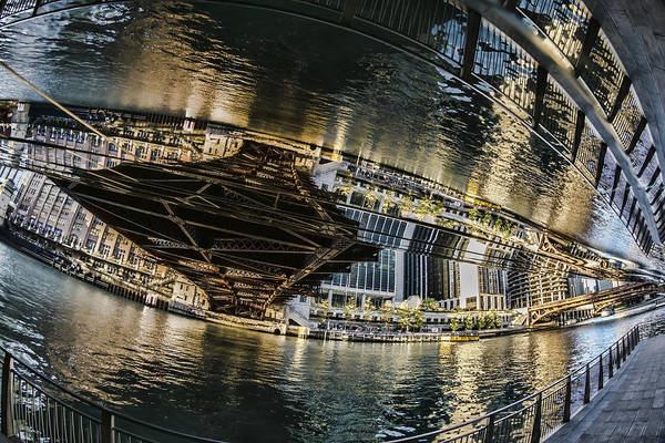 Photograph - reflection fisheye on the Chicago River by Sven Brogren