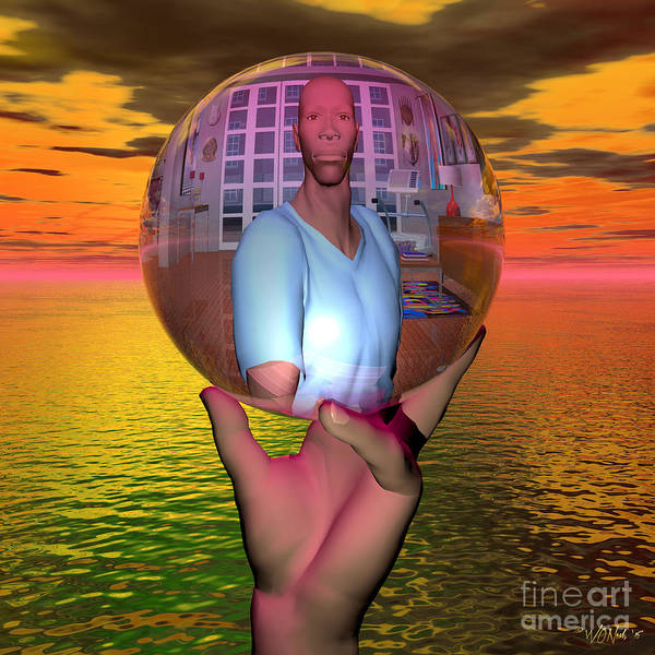 Digital Art - Reflection In A Sphere by Walter Neal