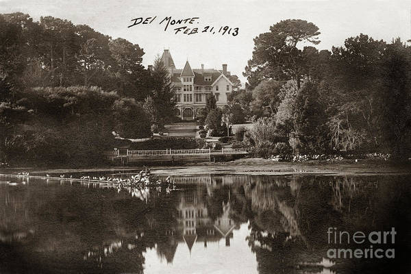 Photograph - Reflection Of Hotel Del Monte  Reflection In The Lake 1913 by California Views Archives Mr Pat Hathaway Archives
