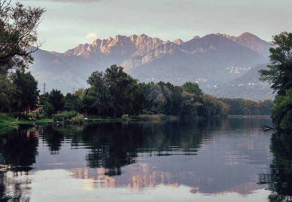 Photograph - Reflection Of Italian Alps On Water by Alexandre Rotenberg