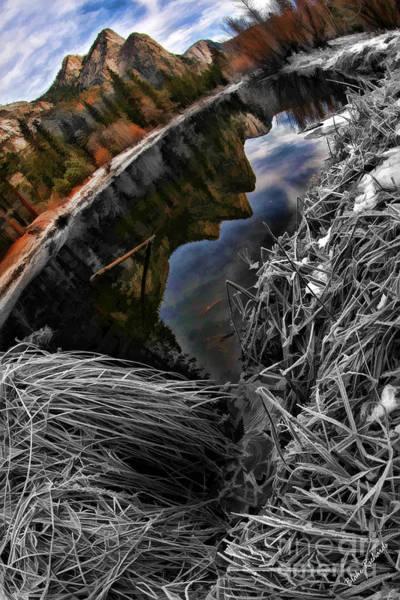 Photograph - Reflection Of Three Brothers Yosemite  by Blake Richards