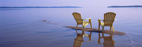 Adirondack Chair Wall Art - Photograph - Reflection Of Two Adirondack Chairs by Panoramic Images
