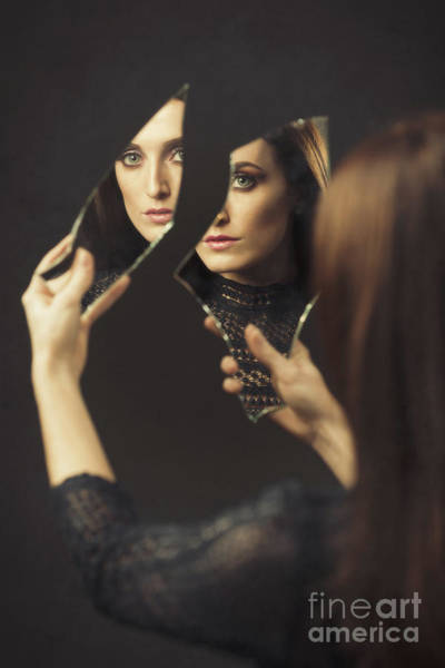 Wall Art - Photograph - Reflection Of Woman In Broken Mirror by Amanda Elwell