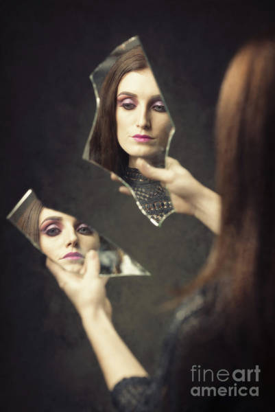 Wall Art - Photograph - Reflection Of Woman In Broken Mirror Shards by Amanda Elwell