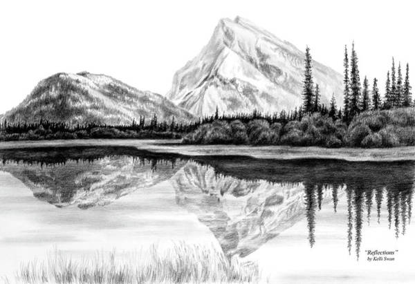Drawing - Reflections - Mountain Landscape Print by Kelli Swan