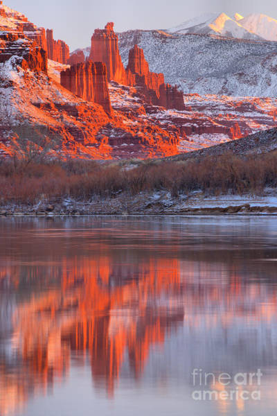 Fisher Towers Photograph - Reflections Along Highway 128 by Adam Jewell