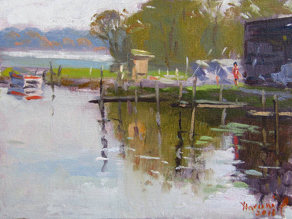 Wall Art - Painting - Reflections At Ashville Bay Marina by Ylli Haruni