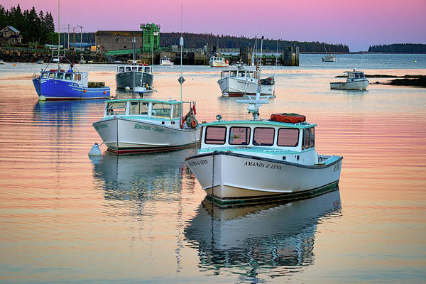 Photograph - Reflections At Dusk In Bernard Harbor by Rick Berk