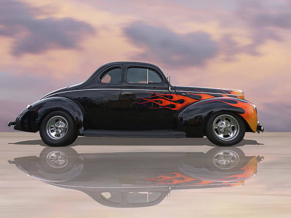 Wall Art - Photograph - Reflections Of A 1940 Ford Deluxe Hot Rod With Flames by Gill Billington
