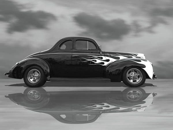 1940 Ford Coupe Photograph - Reflections Of A 1940 Ford Deluxe Hot Rod With Flames In Black And White by Gill Billington
