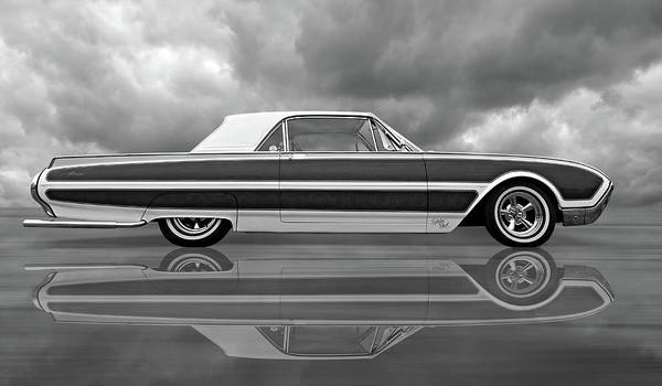Photograph - Reflections Of A 1961 Thunderbird In Black And White by Gill Billington