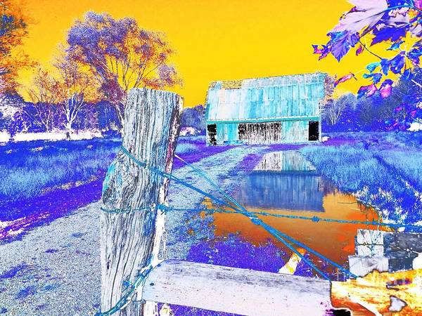 Fence Post Digital Art - Reflections Of An Old Barn Abstract by Scott D Van Osdol