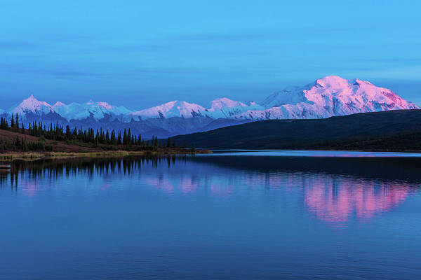 Photograph - Sunset Reflections Of Denali In Wonder Lake by Brenda Jacobs