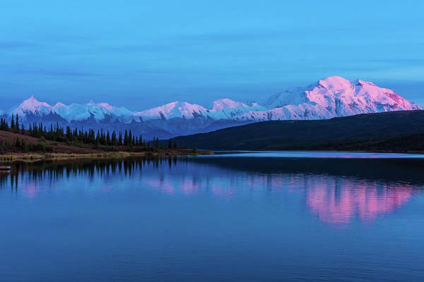 Sunset Reflections Of Denali In Wonder Lake Art Print