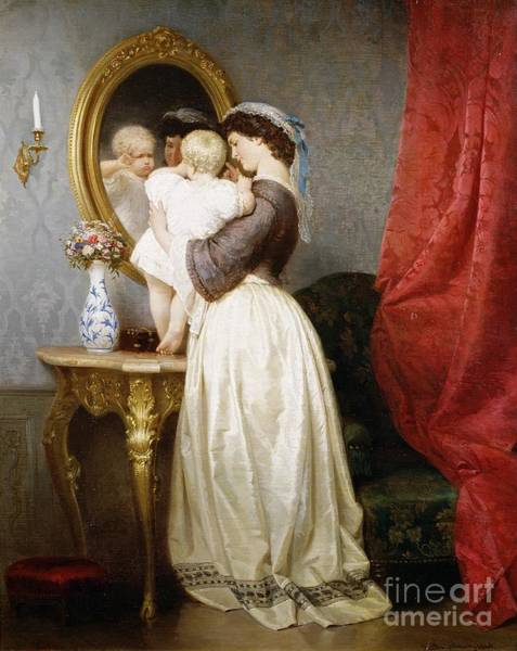 Toddler Painting - Reflections Of Maternal Love by Robert Julius Beyschlag