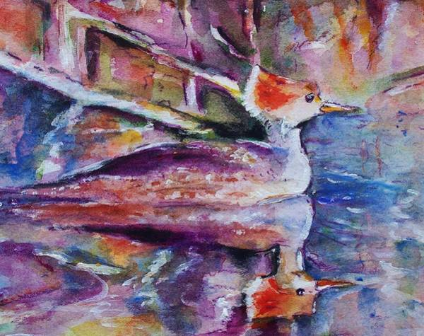 Romo Painting - Reflections Of Merganser by Robin Monroe