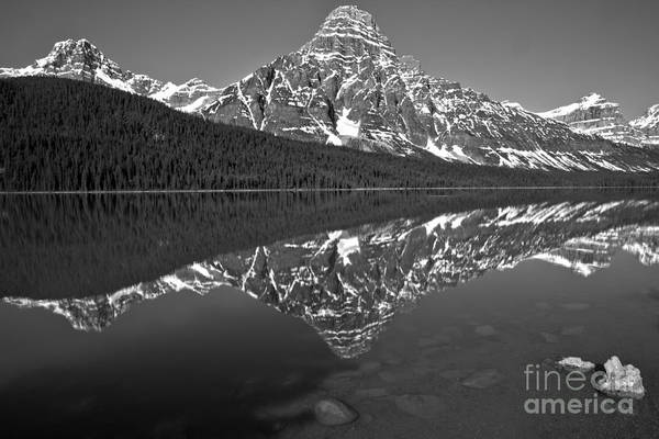 Photograph - Reflections Of Mt Chephren Black And White by Adam Jewell