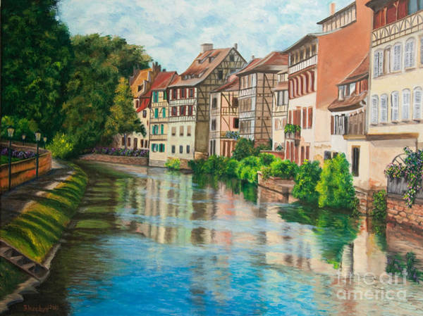 Half Timbered Painting - Reflections Of Strasbourg by Charlotte Blanchard