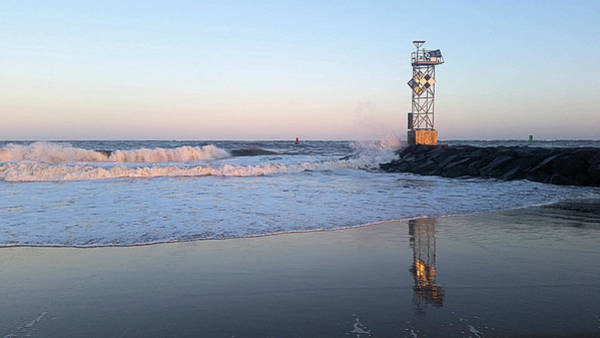 Photograph - Reflections Of The Inlet Jetty by Robert Banach
