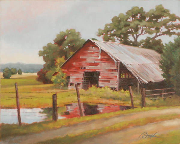 Red Barn Painting - Reflections Of The Past by Todd Baxter